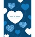 blue white lineart plants heart symbol vector image vector image