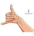 Call me hand sign detailed vector image vector image