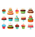 cartoon birthday party cakes sweet baked cake vector image vector image
