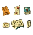 cartoon flat paper books set icon stickers vector image