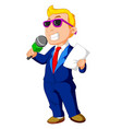 cartoon host holding a microphone vector image vector image