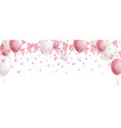 celebration cute pink background with balloons vector image