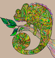 Chameleon on a tree branch vector image