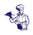 chef cook with roast chicken vector image vector image