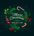 christmas background circular frame with pine vector image vector image