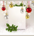 christmas greeting banner with christmas balls vector image vector image