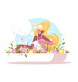 cute blonde watering home flowers vector image vector image