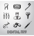 Dental handdrawn icons set vector image vector image