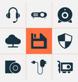 device icons set with web camera charger vector image