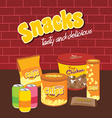 fastfood snacks theme set vector image