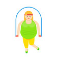 fat woman with jumping rope icon vector image