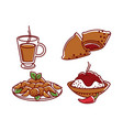 food and drink coffee and jam bagel chicken wings vector image