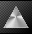 glossy metal industrial plate in triangle shape on vector image vector image
