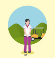 golf player over campfield vector image