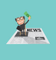 happy and successful businessman in financial news vector image vector image