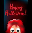 happy halloween poster with scary clown mask vector image