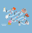 insurance options isometric flat conceptual vector image