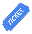 isolated blue ticket vector image