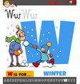 letter w from alphabet with winter season vector image vector image