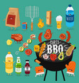 mengal food charcoal barbecue set vector image