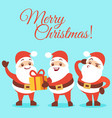 merry christmas background with emotional santa vector image vector image
