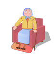 old woman sitting in the armchair vector image