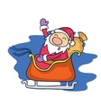 Santa with train Christmas character vector image