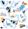 seamless highlands road map pattern vector image