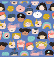 seamless pattern kids faces on a white vector image vector image
