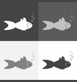 set image fish and bubbles on white-grey-black vector image vector image