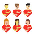 set of characters hugging heart cartoon people vector image