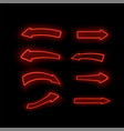 set of different neon red arrows vector image vector image