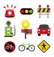 set of element city traffic object and sign vector image vector image