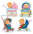 Set of little kids in a baby vector image vector image