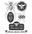 Set of vintage honey bees labels badges and design vector image