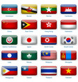 set twenty flags in button style eastern asia vector image