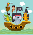ship with pirates animals is swimming on sea vector image