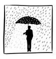 silhouette businessman holding umbrella in rain vector image vector image