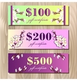 Voucher Gift certificate Coupon template Spring vector image