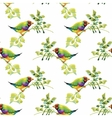 Watercolor Wild exotic birds on flowers seamless vector image vector image