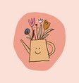watering can for flowers bouquet nursery doodle vector image