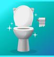 white ceramics clean toilet bowl icon vector image
