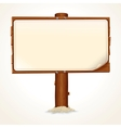Wooden Sign with Paper Sheet on White Background vector image