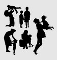 happy family playing silhouette vector image