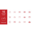 15 purchase icons vector image vector image