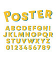 alphabet poster design letters and numbers with vector image