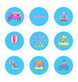 amusement park icon collection vector image vector image