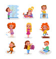 bad and good kids behavior and habits set cute vector image vector image