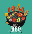 barbecue roaster food funny party vector image