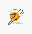 baseball basket ball game fun line icon vector image vector image
